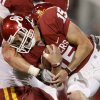 OU\'s Drew Allen runs during the second half of the college football game between the University of Oklahoma Sooners (OU) and the Iowa State Cyclones (ISU) at the Glaylord Family-Oklahoma Memorial Stadium on Saturday, Oct. 16, 2010, in Norman, Okla. Photo by Bryan Terry, The Oklahoman