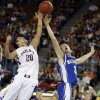 Weleetka\'s Jeremiah Winney and Glencoe\'s Kagen Castlebury fight for a rebound during the Class A boys state championship between Glencoe and Weleetka at the State Fair Arena., Saturday, March 2, 2013. Photo by Sarah Phipps, The Oklahoman