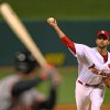 Photo -   St. Louis Cardinals starting pitcher Adam Wainwright throws during the first inning of Game 4 of baseball's National League championship series against the San Francisco Giants Thursday, Oct. 18, 2012, in St. Louis. (AP Photo/Dilip Vishwanat, Pool)