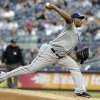 Tampa Bay Rays\' Roberto Hernandez delivers a pitch during the first inning of a baseball game against the New York Yankees, Friday, June 21, 2013, in New York. (AP Photo/Frank Franklin II)