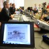 An artwork of Antonio Canaletto is shown on a computer screen during a news conference in Augsburg, southern Germany, Tuesday, Nov. 5, 2013, on the art found in Munich. A hoard of more than 1,400 art works found last year at a Munich apartment includes previously unknown pieces by artists including Marc Chagall, German investigators said Tuesday, adding that they face a hugely complicated task to establish where the art came from. (AP Photo/Kerstin Joensson)