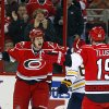 Carolina Hurricanes\' Eric Staal (12) goes to congratulate Jiri Tlusty (19), of the Czech Republic, on his goal during the first period of an NHL hockey game against the Buffalo Sabres, Tuesday, March 5, 2013 in Raleigh, N.C. The Hurricanes won 4-3. (AP Photo/Karl B DeBlaker)