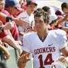 FANS / CELEBRATE / CELEBRATION: Quarterback Sam Bradford leaves the field after the college football game between the University of Oklahoma (OU) and Baylor University at Floyd Casey Stadium in Waco, Texas, Saturday, October 4, 2008. BY STEVE SISNEY, THE OKLAHOMAN ORG XMIT: KOD