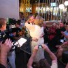 Nancy Levindowski and Steve Keller kiss after exchanging wedding vows at the Denny\'s restaurant on Fremont Street in Las Vegas, Wednesday, April 4, 2013. (AP Photo/Las Vegas Sun, Sam Morris)