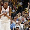 Oklahoma City\'s Kevin Durant (35) claps his hands after a play in the fourth quarter of the NBA basketball game between the San Antonio Spurs and the Oklahoma City Thunder at the Ford Center in Oklahoma City, Monday, March 16, 2009. Oklahoma City won, 78-76. PHOTO BY NATE BILLINGS, THE OKLAHOMAN ORG XMIT: KOD