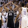 San Antonio\'s Tim Duncan (21) reacts after being called for a foul during Game 6 of the Western Conference Finals between the Oklahoma City Thunder and the San Antonio Spurs in the NBA playoffs at the Chesapeake Energy Arena in Oklahoma City, Wednesday, June 6, 2012. Photo by Chris Landsberger, The Oklahoman