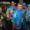 Photo - International Olympic Committee President Thomas Bach, center right, arrives at Sochi International Airport prior to the Sochi 2014 Winter Olympics on Friday, Jan. 31, 2014 in Sochi, Russia. The Olympic games will run from Feb. 7-23. (AP Photo/Matthew Stockman, Pool)