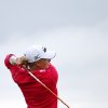 Stacy Lewis of the US, tees off on the second hole during the first round of the Women\'s British Open golf championship on the Old Course at St Andrews, Scotland, Thursday Aug. 1, 2013. (AP Photo/Scott Heppell)