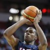 Photo - Kevin Durant shoots a free throw during a team USA basketball game at the Thomas & Mack Center Saturday, July 25, 2009 in Las Vegas. (AP Photo/Isaac Brekken) ORG XMIT: NVIB108