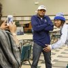 Jalaun Parker, left, and Phillip Sumpter pose for a photo after the signing day ceremony at Edmond Santa Fe High School in Edmond, Okla., Wednesday, Feb. 6, 2013. Parker will play football at Panhandle State, while Sumpter will play for Memphis. Photo by Nate Billings, The Oklahoman