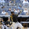 Photo - Pittsburgh Pirates' Starling Marte hits a two-run home run during the sixth inning of the second game of a baseball double-header against the New York Yankees Sunday, May 18, 2014, at Yankee Stadium in New York. (AP Photo/Bill Kostroun)