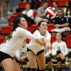 Booker T. Washington\'s Lauren Bateman, left, and Kassidy Franks tangle as they return a ball against Shawnee during the Class 5A State Championship volleyball tournament on Friday, Oct. 12, 2012, in Moore, Okla. Photo by Steve Sisney, The Oklahoman