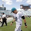 Photo -   Jacksonville Jaguars quarterback Blaine Gabbert walks off the field after their 27-7 loss to the Houston Texans in an NFL football game, Sunday, Sept. 16, 2012, in Jacksonville, Fla. (AP Photo/John Raoux)