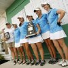 Photo - The Edmond North girls team pose with their runner-up trophy held by individual winner Allison Sell (middle) at the Class 6A Girls State Golf tournamnet at Muskogee Country Club in Muskogee, Okla. taken on May 3, 2012. JAMES GIBBARD/Tulsa World
