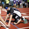 Gianni Toce gets help from his guide Joseph Brown before the start of a race during the UCO Endeavor Games at the Edmond North High School School track, Saturday, June 7, 2014. Photo by Bryan Terry, The Oklahoman