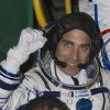 U.S. astronaut Christopher Cassidy, crew member of the mission to the International Space Station (ISS), waves prior to the launch of Soyuz-FG rocket at the Russian leased Baikonur Cosmodrome, Kazakhstan, Thursday, March 28, 2013. (AP Photo/ Shamil Zhumatov, Pool)