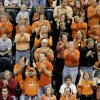 OSU COLLEGE BASKETBALL, FAN, CROWD: Oklahoma State University fans cheer as OSU played Southeastern Louisiana in the first round of the NCAA Tournament at the Ford Center in Oklahoma City, Friday, March 18, 2005. By Ty Russell/The Oklahoman.