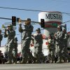 The 395th Army Band marches in the Mustang Western Days parade in Mustang, OK, Saturday, September 8, 2012, By Paul Hellstern, The Oklahoman