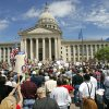 Tax Day Protesters gather on the south steps of the state Capitol to protest government spending in Oklahoma City, Oklahoma April 15, 2009. Photo by Steve Gooch, The Oklahoman