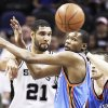 Thunder forward Kevin Durant, right, played 44 minutes and scored 31 points in Tuesday's win at San Antonio despite suffering a hip injury in the first half. Ap photo