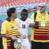 Photo - Team officials help Majeed Waris (18) off the field during the first half of an international  friendly soccer match in Miami Gardens, Fla., Monday, June 9, 2014 against South Korea. ( AP Photo/J Pat Carter)