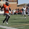 OSU\'s Justin Blackmon (81) runs after a catch in the second quarter during a college football game between the Oklahoma State University Cowboys (OSU) and the Baylor University Bears (BU) at Boone Pickens Stadium in Stillwater, Okla., Saturday, Oct. 29, 2011. Photo by Nate Billings, The Oklahoman