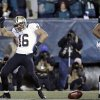 New Orleans Saints\' Lance Moore (16) celebrates after scoring a touchdown during the second half of an NFL wild-card playoff football game against the Philadelphia Eagles, Saturday, Jan. 4, 2014, in Philadelphia. (AP Photo/Matt Rourke)