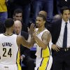 Indiana Pacers\' Paul George (24) and George Hill react in front of Miami Heat head coach Erik Spoelstra, right, during the second half Game 3 of the NBA Eastern Conference basketball finals in Indianapolis, Sunday, May 26, 2013. (AP Photo/Michael Conroy)