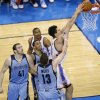 Oklahoma City\'s Steven Adams (12) dunks during Game 7 in the first round of the NBA playoffs between the Oklahoma City Thunder and the Memphis Grizzlies at Chesapeake Energy Arena in Oklahoma City, Saturday, May 3, 2014. Photo by Sarah Phipps, The Oklahoman