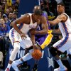 Oklahoma City\'s Kevin Durant is fouled by Los Angeles\' Kobe Bryant during an NBA basketball game between the Oklahoma City Thunder and the Los Angeles Lakers at Chesapeake Energy Arena in Oklahoma City, Tuesday, March 5, 2013. Photo by Bryan Terry, The Oklahoman