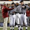 Oklahoma head coach Bob Stoops argues a call with the officials during the first half of the 2008 Bedlam game in Stillwate. PHOTO BY CHRIS LANDSBERGER, THE OKLAHOMAN ARCHIVE