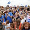 Thunder fans cheer for the team as the players arrive at a welcome home rally for the Oklahoma City Thunder in a field at Will Rogers World Airport after the team\'s loss to the Miami Heat in the NBA Finals, Friday, June 22, 2012. Photo by Nate Billings, The Oklahoman