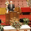 The Rev. Ron King speaks at Taylor Paschal-Placker funeral in Dewar, Friday, June 13, 2008. King recently found out he was kin to Taylor at a family reunion. Taylor and her friend Skyla Whitaker were shot and killed last Sunday on the dirt road near one of their homes, Thursday, June 12, 2008. Photo by David McDaniel/The Oklahoman