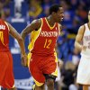 Houston\'s Patrick Beverley (12) celebrates with Aaron Brooks (0) as they run back on defense in front of Oklahoma City\'s Kevin Martin (23) after hitting a 3-point shot in the second half during Game 5 in the first round of the NBA playoffs between the Oklahoma City Thunder and the Houston Rockets at Chesapeake Energy Arena in Oklahoma City, Wednesday, May 1, 2013. Photo by Nate Billings, The Oklahoman