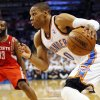 NBA BASKETBALL: Oklahoma City\'s Russell Westbrook (0) drives the ball in front of Houston\'s James Harden (13) in the second half during Game 2 in the first round of the NBA playoffs between the Oklahoma City Thunder and the Houston Rockets at Chesapeake Energy Arena in Oklahoma City, Wednesday, April 24, 2013. Oklahoma City won, 105-102. Photo by Nate Billings, The Oklahoman