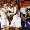 WOMEN\'S COLLEGE BASKETBALL / REACTION: Oklahoma State\'s Lindsey Keller (25) and Toni Young (15) react in front of Kansas State\'s Mariah White (22) after Young made a shot and was fouled during an NCAA women\'s basketball game between Oklahoma State University (OSU) and Kansas State at Gallagher-Iba Arena in Stillwater, Okla., Saturday, Feb. 16, 2013. Photo by Nate Billings, The Oklahoman