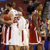 Oklahoma\'s Amath M\'Baye (22) hugs San Diego State\'s JJ O\'Brien (20) as Oklahoma\'s Romero Osby (24) walks away after a game between the University of Oklahoma and San Diego State in the second round of the NCAA men\'s college basketball tournament at the Wells Fargo Center in Philadelphia, Friday, March 22, 2013. San Diego State beat OU, 70-55. Photo by Nate Billings, The Oklahoman