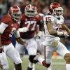 Oklahoma\'s Zack Sanchez (15) returns a interception as Alabama\'s Amari Cooper (9) and Arie Kouandjio (77) chase him down during the NCAA football BCS Sugar Bowl game between the University of Oklahoma Sooners (OU) and the University of Alabama Crimson Tide (UA) at the Superdome in New Orleans, La., Thursday, Jan. 2, 2014. Photo by Sarah Phipps, The Oklahoman