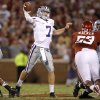 Photo - Kansas State's Collin Klein (7) drops back to pass during a college football game between the University of Oklahoma Sooners (OU) and the Kansas State University Wildcats (KSU) at Gaylord Family-Oklahoma Memorial Stadium, Saturday, September 22, 2012. Photo by Bryan Terry, The Oklahoman