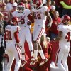 Oklahoma\'s Sterling Shepard (3) and Oklahoma\'s Justin Brown (19) celebrate after a touchdown during a college football game between the University of Oklahoma (OU) and Iowa State University (ISU) at Jack Trice Stadium in Ames, Iowa, Saturday, Nov. 3, 2012. Photo by Bryan Terry, The Oklahoman