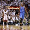 Oklahoma City\'s Kevin Durant (35) reacts in front of Miami\'s Mario Chalmers (15) during Game 3 of the NBA Finals between the Oklahoma City Thunder and the Miami Heat at American Airlines Arena, Sunday, June 17, 2012. Oklahoma CIty lost 91-85. Photo by Bryan Terry, The Oklahoman