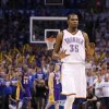 Oklahoma City\'s Kevin Durant (35) walks back to the bench after making a basket in the final seconds of Game 2 in the second round of the NBA playoffs between the Oklahoma City Thunder and L.A. Lakers at Chesapeake Energy Arena in Oklahoma City, Wednesday, May 16, 2012. Photo by Bryan Terry, The Oklahoman
