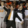Photo - Oklahoma State Travis Ford shouts instructions during an NCAA college basketball game between Oklahoma State University (OSU) and the University of Kansas at Gallagher-Iba Arena in Stillwater, Okla., Saturday, March 1, 2014. Oklahoma State won 72-65. Photo by Bryan Terry, The Oklahoman