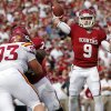 Oklahoma\'s Trevor Knight (9) passes the ball during the college football game between the University of Oklahoma Sooners (OU) and the Iowa State University Cyclones (ISU) at Gaylord Family-Oklahoma Memorial Stadium in Norman, Okla. on Saturday, Nov. 16, 2013. Photo by Chris Landsberger, The Oklahoman
