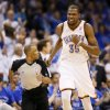 Oklahoma City\'s Kevin Durant (35) celebrates after making a shot during Game 2 in the first round of the NBA playoffs between the Oklahoma City Thunder and the Houston Rockets at Chesapeake Energy Arena in Oklahoma City, Wednesday, April 24, 2013. Photo by Nate Billings, The Oklahoman