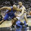 Oklahoma City\'s Derek Fisher (37) knocks the ball away from San Antonio\'s Manu Ginobili (20) during Game 5 of the Western Conference Finals between the Oklahoma City Thunder and the San Antonio Spurs in the NBA basketball playoffs at the AT&T Center in San Antonio, Monday, June 4, 2012. The Thunder won, 108-103. Photo by Nate Billings, The Oklahoman