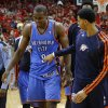 Oklahoma City\'s Serge Ibaka (9) walks off the court after Game 4 in the first round of the NBA playoffs between the Oklahoma City Thunder and the Houston Rockets at the Toyota Center in Houston, Texas,Sunday, April 29, 2013. Oklahoma City lost 105-103. Photo by Bryan Terry, The Oklahoman