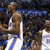 Oklahoma City\'s Serge Ibaka (9) and Kevin Durant (35) celebrate a Ibaka dunk during the NBA game between the Oklahoma City Thunder and the Minnesota Timberwolves at the Chesapeake Energy Arena, Sunday, Dec. 1, 2013. Photo by Sarah Phipps, The Oklahoman