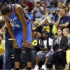 Oklahoma City\'s Kevin Durant (35) pauses after colliding with a teammate in the second half during Game 3 in the second round of the NBA basketball playoffs between the Oklahoma City Thunder and Memphis Grizzles at the FedExForum in Memphis, Tenn., Saturday, May 11, 2013. Memphis won, 87-81. Photo by Nate Billings, The Oklahoman