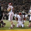 Oklahoma\'s Blake Bell (10) sits on his knees after getting stopped on fourth down during an NCAA college football game between the University of Oklahoman (OU) Sooners and the Baylor Bears at Floyd Casey Stadium in Waco, Texas, Thursday, Nov. 7, 2013. Photo by Bryan Terry, The Oklahoman